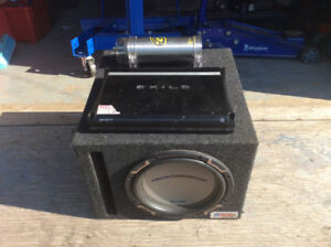 1000watt amp with battery cell an 10 inch sub with box