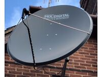 1.4m Large Satellite Dish with pole mount. Brand new. Boxed. Steel. Mix Digital