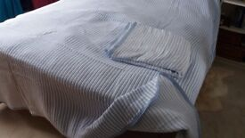 Two Large Single Bed Throws 190 x 260 cm - Light blue woven stripes, poly-cotton. NEW!