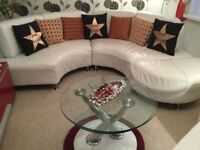 White leather sofa chair,footstool.
