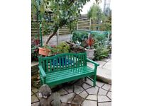 Green wooden garden bench forsale