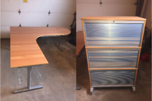 IKEA desk with end caps and 3 drawer filing cabinet $350obo