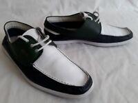 Lacoste Leather Boat Shoe Green/White/Navy UK10