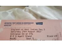 Day 3 England V West Indies Day/Night test - Edgbaston- GREAT SEATS!