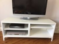 TV Bench - Ikea - Besta - White with protective glass top cover - as new