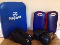 Boxing & kick boxing, Muay Thai, pads, body shield, foot guards, gloves set