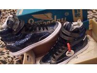 Superdry brand new box hidden wedge midnight glitter blue 7 high top shoe trainer boot Hyper Crampon