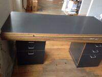 Large Desk Table Tops and Supporting Drawer Pods