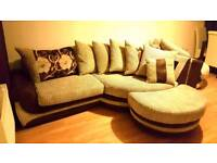 SCS HUGE CUDDLE SOFA + TWISTER CHAIR + FOOT STOOL AND LOTS OF PILLOWS
