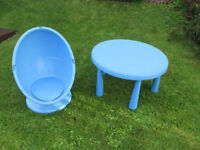Large kids IKEA plastic table with free matching IKEA egg chair