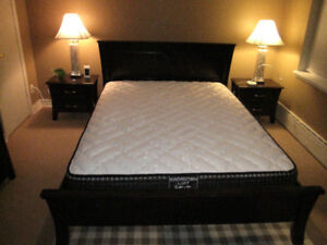 Solid wood queen size bed, mahogany/espresso, mattress, delivery