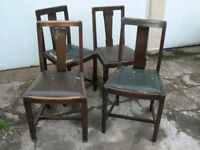 4 OAK CHAIRS FOR RESTORATION