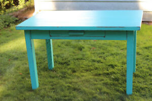 blue desk or table