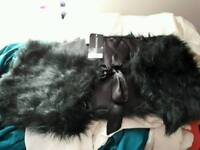 Black furry shawl BNNW