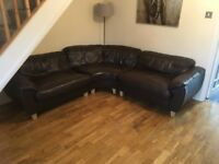 Dark Brown Leather Corner Sofa