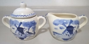 Vntg Delft Porcelain Blue & White Hand Painted  Sugar & Creamer