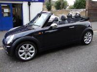 Mini Cooper black convertible 1,6l petrol 2006 73,000 new mot