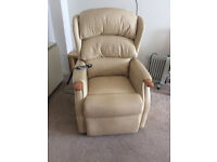 Celebrity Beige Leather Electric Lift and Tilt Reclining Chair.