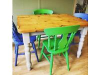 LOVELY REFURBISHED FARMHOUSE DINING ROOM TABLE AND CHAIRS