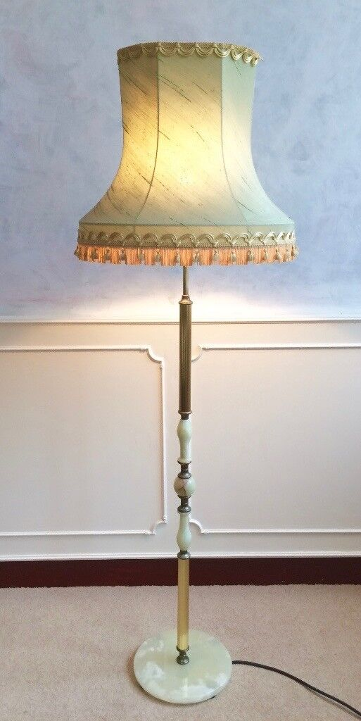 Vintage gold green onyx marble floor standing standard lamp green fringed shade