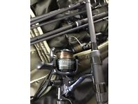 3x Greys Prodigy rods + 3x Shimano DL 10000 RA reels C/W 6 rod bag, buzz bars and 3 rod butt grips