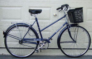 "Blue Raleigh ""Sport"" Cruiser with shopping basket"