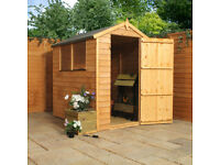NEW 6x4 Overlap Apex Garden Shed 2 windows, unassembled with all fixings, solid floor, roof and felt