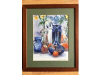 Still life watercolour by Juaire A Trevorran, framed 30cm X 35cm