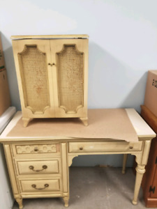 Antique style desk and side storage cabinet