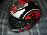 Box helmet red and black