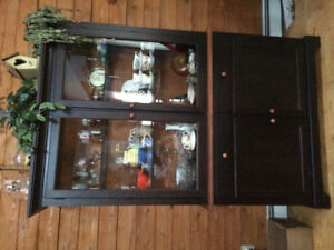 Two piece china cabinet with interior light