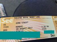 ** 42nd STREET MUSICAL ** 28th August 2/4 tickets £40 per pair (BANK HOLIDAY MONDAY)