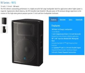DJ! Yorkville speakers with stands, mixer and LED lights