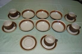 Denby 'Russet' Dinnerware, 6 Soup Bowls, 5 Cups & 6 Saucers in Ex Cond, 17 Items in All.