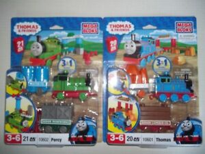 THOMAS & FRIENDS MEGA BLOKS LOT PERCY #10602 THOMAS #10601