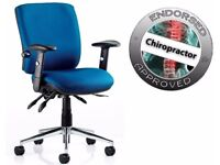 2 - CHIRO HI QUALITY TASK CHAIRS - IN NAVY BLUE - ADJ ARMS
