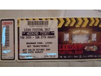 Leeds Festival full weekend camping tickets