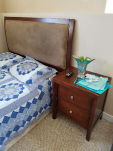 Queen size bed, mattress, box spring, and one night stand