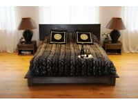 King size wooden bed with 2 bedside cabinets Ex Display