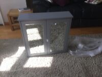 Grey two mirror bathroom cabinet new in box, soft close doors