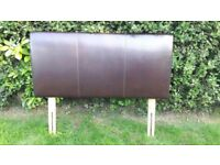 Chocolate brown leather double bed headboard, like new