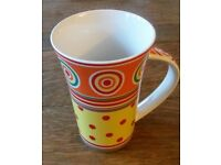 "New ""Johnson Brothers' Bone China Mug: Multi Colours Funky Spiral & Dot Design: Kitchen/ Camping"