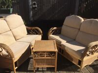 Conservatory furniture, 2 x 2 seater sofas with matching table ( on other sites)