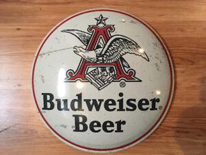 Pancarte de métal Budweiser bombée style vintage authentique