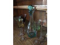 Coloured glass drinks set & decanter