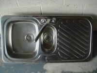 One and a half bowl stainless steel sink complete with matching mixer taps