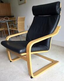 IKEA POANG black leather look armchair