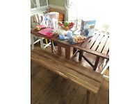 Table and 6 chairs- wood