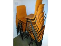 Office chairs, tables, flip charts.