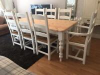 Lovely 6ft Shabby Chic Farmhouse Pine Table and 8 Lovely Chairs inc Two Carvers